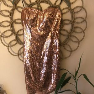 Gold strapless dress sparkle sequen